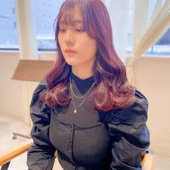 ピンクアッシュ 韓国ヘア ブリーチなし ピンクベージュ ヘアスタイルや髪型の写真・画像