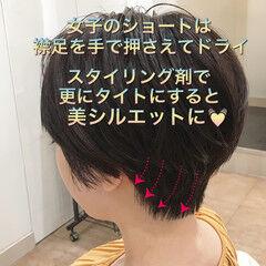 ハンサムショート 小顔ショート ショートヘア セット ヘアスタイルや髪型の写真・画像