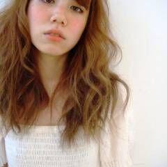 ゆるふわ ガーリー セミロング ヘアスタイルや髪型の写真・画像