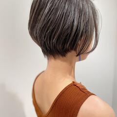 ショート ハンサムショート ダークトーン ショートボブ ヘアスタイルや髪型の写真・画像
