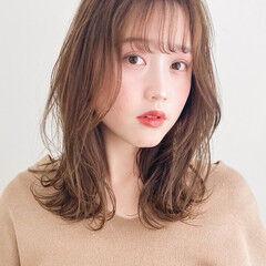 デジタルパーマ 似合わせカット 韓国風ヘアー ミディアム ヘアスタイルや髪型の写真・画像