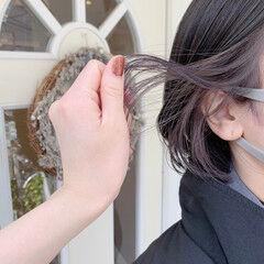 モード パープルカラー インナーカラー インナーカラーパープル ヘアスタイルや髪型の写真・画像