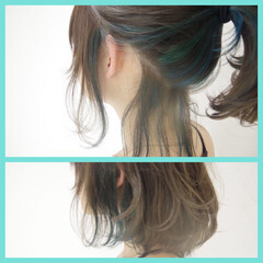 ストリート ローライト ハイライト ヘアゴム ヘアスタイルや髪型の写真・画像
