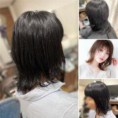 ネオウルフ ミディアム ヘナカラー デジタルパーマ ヘアスタイルや髪型の写真・画像