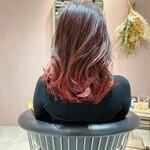 赤髪 ガーリー グラデーションカラー セミロング