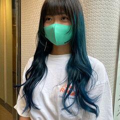 ネオウルフ ターコイズブルー ブルーグラデーション ミディアム ヘアスタイルや髪型の写真・画像
