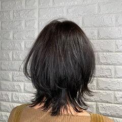 ガーリー サイエンスアクア 外ハネ ウルフカット ヘアスタイルや髪型の写真・画像