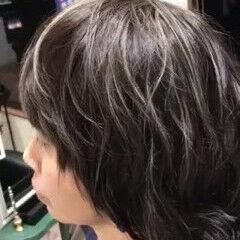 ハイライト コントラストハイライト ショート 極細ハイライト ヘアスタイルや髪型の写真・画像