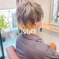 マッシュウルフ ミントアッシュ ストリート インナーカラー ヘアスタイルや髪型の写真・画像