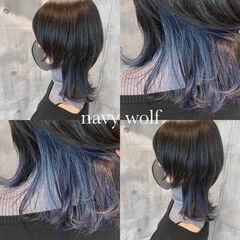 ウルフカット ニュアンスウルフ ネイビー ストリート ヘアスタイルや髪型の写真・画像