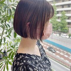 ガーリー 韓国 韓国風ヘアー 切りっぱなしボブ ヘアスタイルや髪型の写真・画像