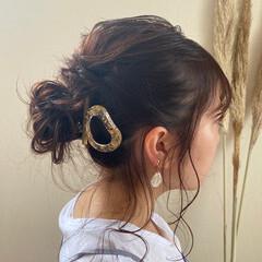 セルフヘアアレンジ 透明感 大人ミディアム ゆるナチュラル ヘアスタイルや髪型の写真・画像