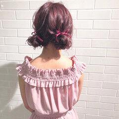 ピンク セミロング ヘアアレンジ 簡単ヘアアレンジ ヘアスタイルや髪型の写真・画像