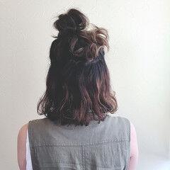 ヘアアレンジ お団子 デート ボブ ヘアスタイルや髪型の写真・画像