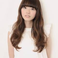 モテ髪 ロング アッシュベージュ 重めバング ヘアスタイルや髪型の写真・画像