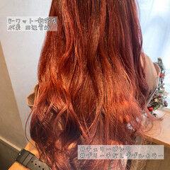 ロング ラベンダーピンク ナチュラル カシスレッド ヘアスタイルや髪型の写真・画像