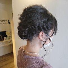 結婚式ヘアアレンジ エレガント 結婚式アレンジ ミディアム ヘアスタイルや髪型の写真・画像