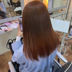 アプリコットオレンジ オレンジブラウン ブラットオレンジ セミロング ヘアスタイルや髪型の写真・画像