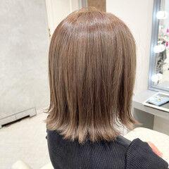 ミルクティーベージュ 銀座美容室 ボブ 切りっぱなしボブ ヘアスタイルや髪型の写真・画像