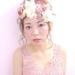 花 ヘアアレンジ 花嫁 大人かわいい