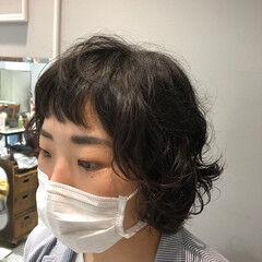 前髪パーマ ナチュラル ダメージレス ショートボブ ヘアスタイルや髪型の写真・画像