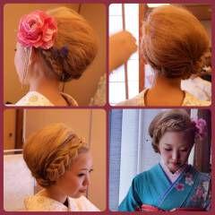 着物 クラシカル ヘアアレンジ 編み込み ヘアスタイルや髪型の写真・画像
