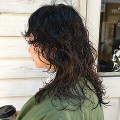 マッシュウルフ セミロング ウルフパーマヘア ウルフカット ヘアスタイルや髪型の写真・画像