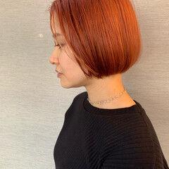 ボブ アプリコットオレンジ ナチュラル コーラルピンク ヘアスタイルや髪型の写真・画像