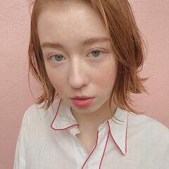 ボブ 透明感 ゆるふわ オレンジ ヘアスタイルや髪型の写真・画像