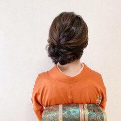 結婚式ヘアアレンジ 和装ヘア 訪問着 セミロング ヘアスタイルや髪型の写真・画像