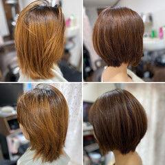 エレガント ココアベージュ 髪質改善トリートメント ココアブラウン ヘアスタイルや髪型の写真・画像