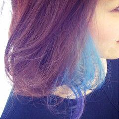パープル ブルー ストリート ミディアム ヘアスタイルや髪型の写真・画像