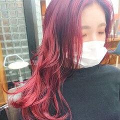 ブリーチカラー TOKIOトリートメント イルミナカラー チェリーレッド ヘアスタイルや髪型の写真・画像
