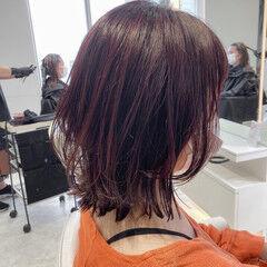 ピンクバイオレット ピンク ボブ くびれボブ ヘアスタイルや髪型の写真・画像