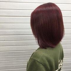 ストリート ピンクバイオレット レッド マニキュア ヘアスタイルや髪型の写真・画像
