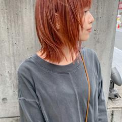 赤髪 ボブウルフ ウルフレイヤー ボブ ヘアスタイルや髪型の写真・画像