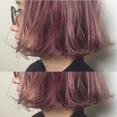 ストリート ダブルカラー ピンク パールピンク ヘアスタイルや髪型の写真・画像