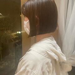 ナチュラル 切りっぱなしボブ 髪質改善トリートメント ミニボブ ヘアスタイルや髪型の写真・画像