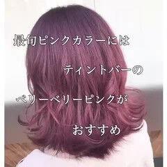 ボブ ピンク 切りっぱなしボブ ガーリー ヘアスタイルや髪型の写真・画像