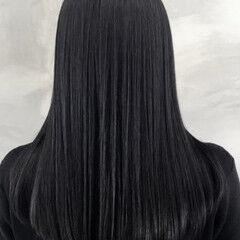 ナチュラル ストレート セミロング ダークグレー ヘアスタイルや髪型の写真・画像