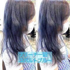 ターコイズブルー ブルーバイオレット ネイビーブルー ガーリー ヘアスタイルや髪型の写真・画像