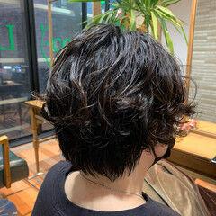 無造作パーマ ショートパーマ ショート ゆるふわパーマ ヘアスタイルや髪型の写真・画像