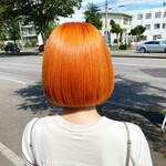 切りっぱなしボブ オレンジカラー ミニボブ ボブ