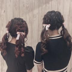 ヘアアレンジ お花ヘア ロング ガーリー ヘアスタイルや髪型の写真・画像