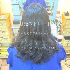 美シルエット エレガント 縮毛矯正 デジタルパーマ ヘアスタイルや髪型の写真・画像