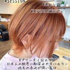 ガーリー ハイトーン ショート オレンジカラー ヘアスタイルや髪型の写真・画像