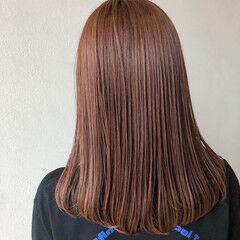 セミロング ピンク フェミニン ピンクラベンダー ヘアスタイルや髪型の写真・画像