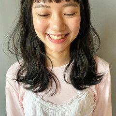 ミディアム 暗髪 ナチュラル 透明感 ヘアスタイルや髪型の写真・画像