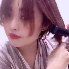 センター分け ショート ヘアセット動画 ショートヘア ヘアスタイルや髪型の写真・画像