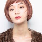 ピンク ミニボブ 艶髪 ダブルバング